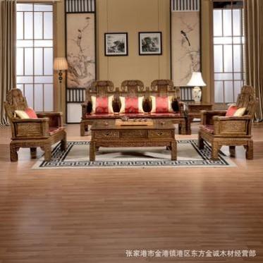 非洲红木家具鸡翅木象头沙发中式实木雕花明清古典客厅组合